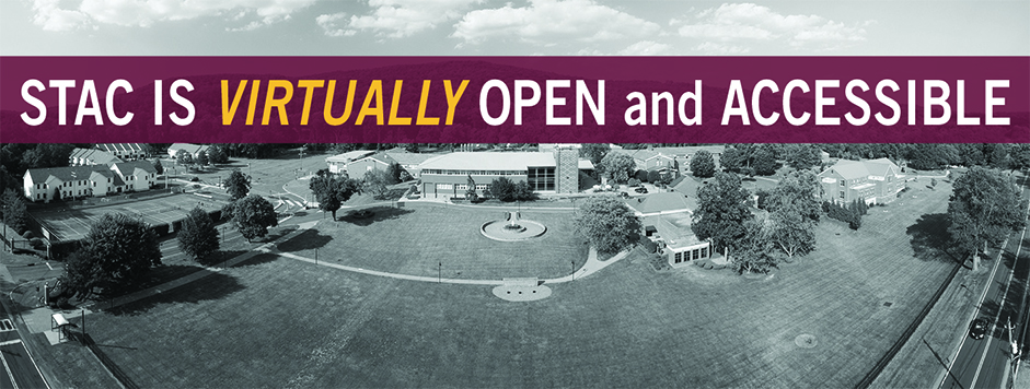 "Aerial view of STAC Campus with banner that says ""STAC IS VIRTUALLY OPEN and ACCESSIBLE"""