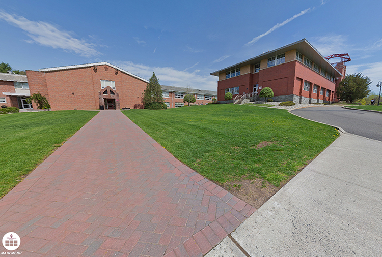 Exterior of the paths leading to and from the Admissions Office and the rear of Costello Hall