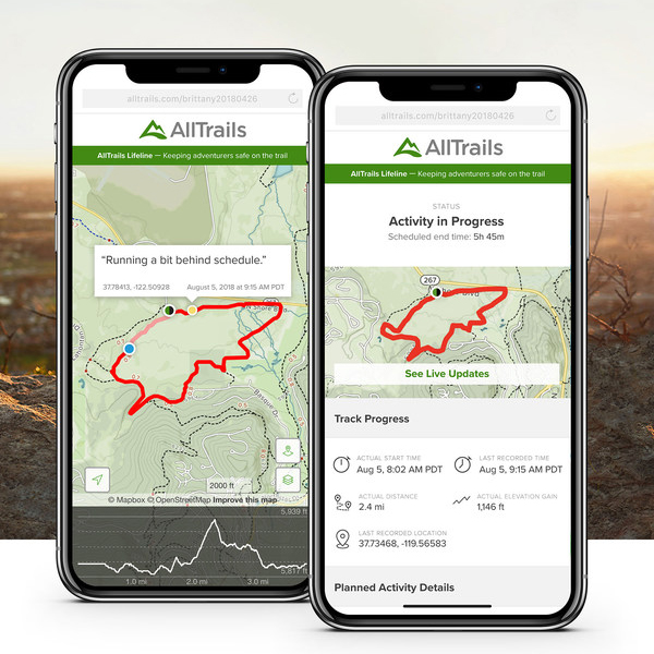 Two cellphones with terrain trail pathways pulled up on screen--pointing to plots on hiking trail