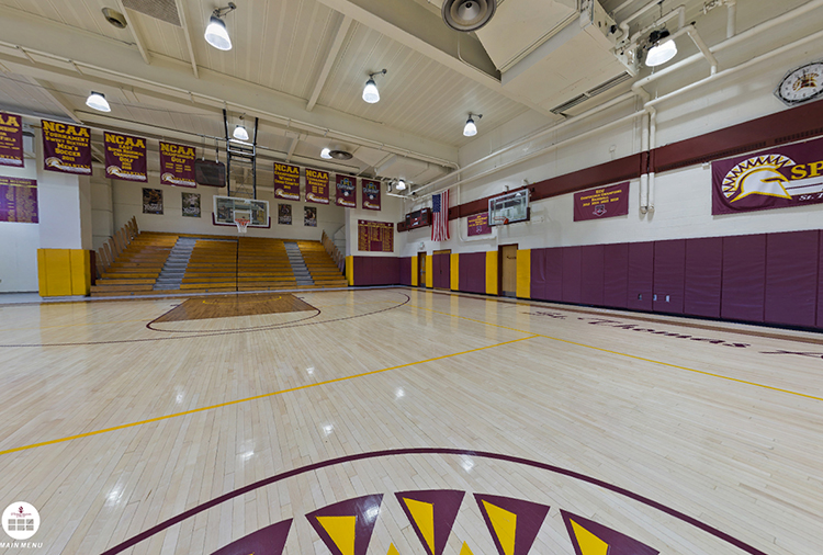 Gymnasium showing basketball court