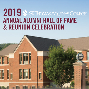 Image of Borelli Hall on STAC's campus with a heading about the 2019 Alumni Hall of Fame