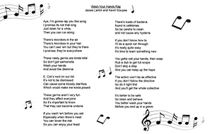 handwashing rap with music notes cover page