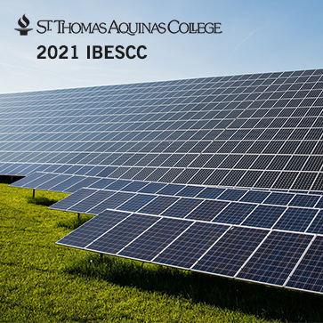 STAC torch and text logo in black 2021 IBECC test top left, image of solar panels on grass with blue sky