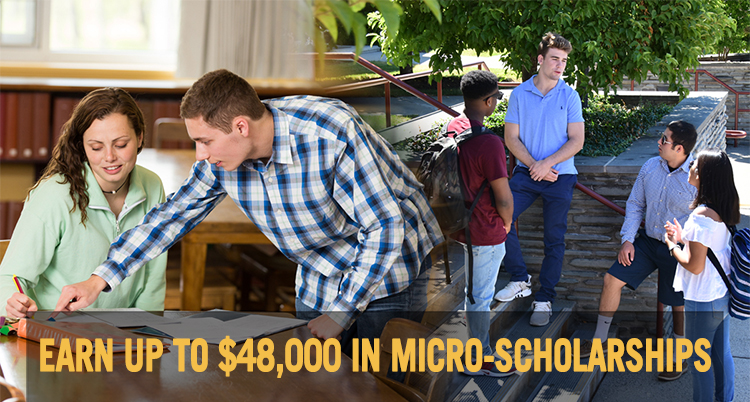 Students interacting in and outside of the classroom on campus - Text overlay: Earn up to $48,000 in micro-scholarships