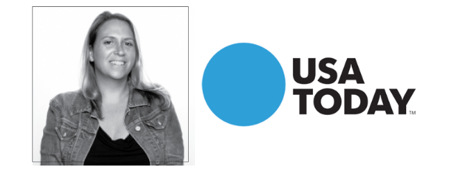 Stacy Mello smiling black and white photo with USA Today logo black and bright blue