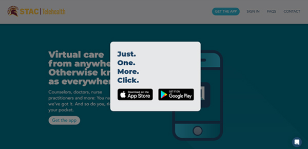 """STAC Telehealth logo written in maroon and gold. Screen """"Just one mpre click"""" and links to apple store and google play store to download app as written in STAC website directions"""