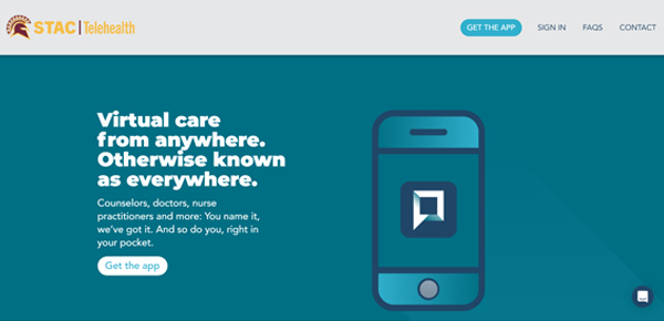 Screenshot from Timely MD website as linked in website copy. Virtual Care from anywhere--blue background. STAC Telehealth logo maron and gold in top left. Sign in button on top right.