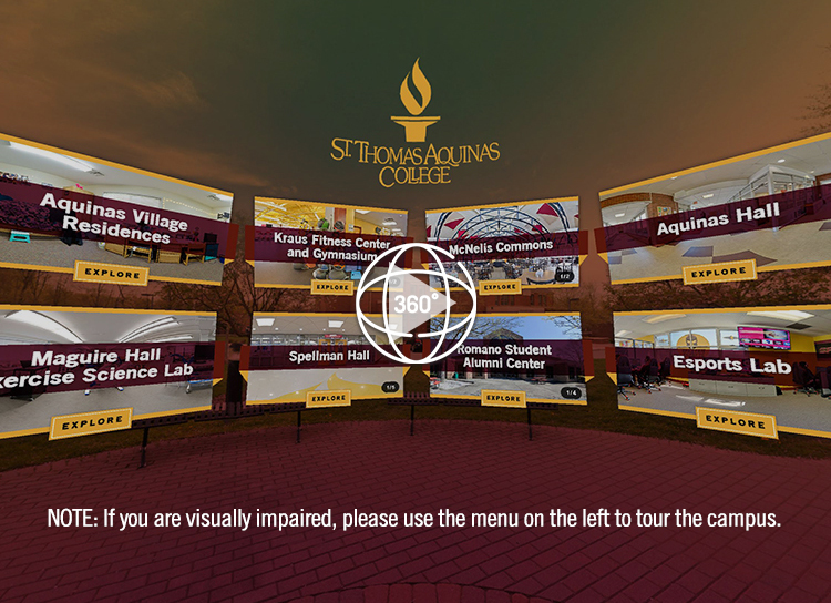 Screenshot of Virtual Tour Portal - NOTE: If you are visually impaired, please use the menu on the left to tour the campus.