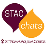 STAC Chats droplet logo maroon and gold