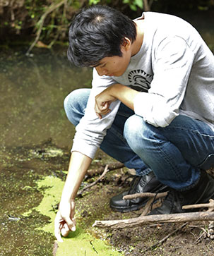 Student studying algae at water's edge