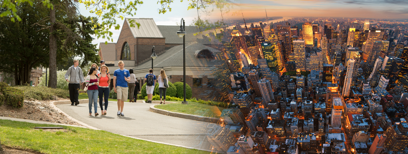 students walking near romano center on left with NYC skyline image blended in on right