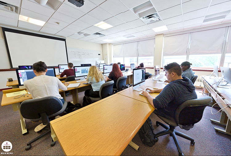 Students woking in the computer lab