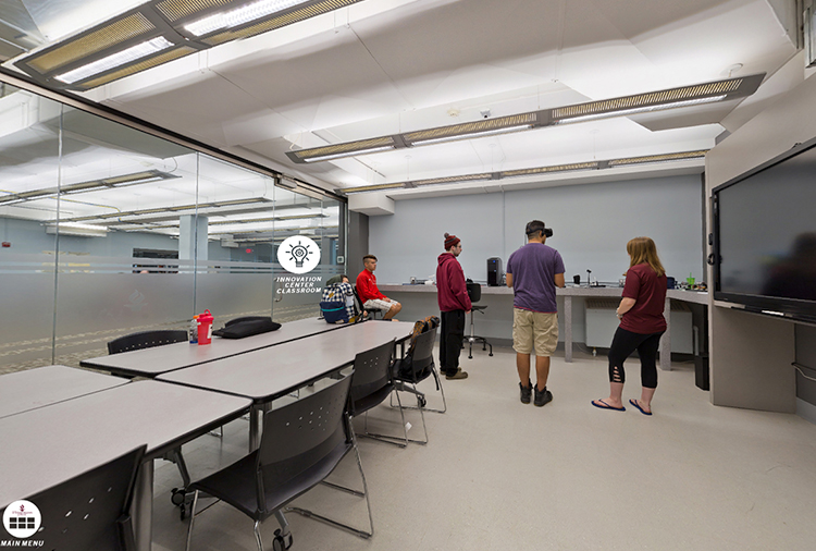 Innovation Center Classroom with students using VR equipment