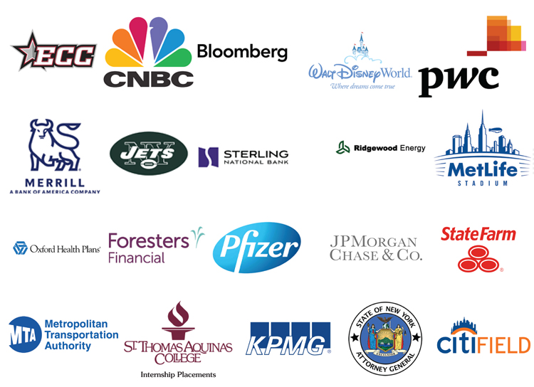 ECC CNBC Bloomberg Disney World PWC Pfizer Merrill Lunch NY Jets Sterling bank Ridgewood Energy MetLife Stadium Oxford Health Plans Foresters Financial Pfizer JP Morgan Chase and Co. State Farm MTA STAC KPMG NYS Attorney General CitiField