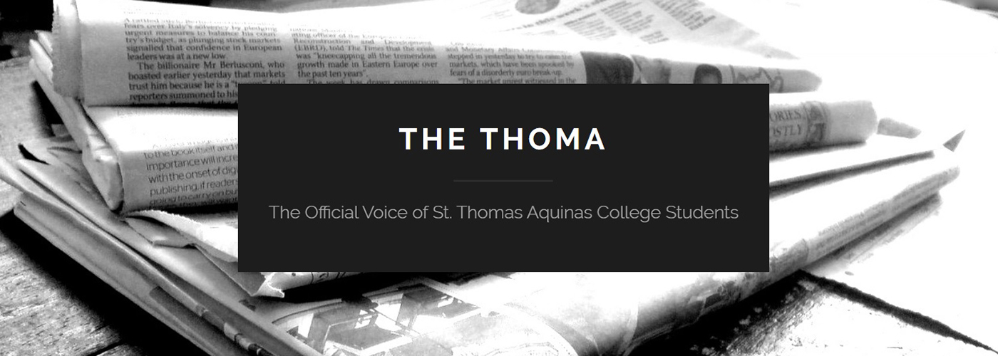 Logo The Thoma; newspaper in background; black, white, gray