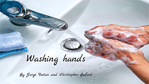 Washing hands in sink with soap