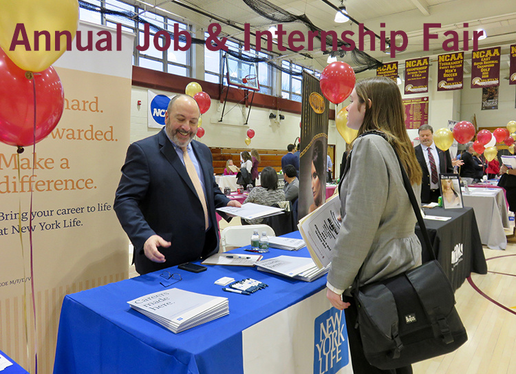 student interacts with prospective employer at the job and internship fair