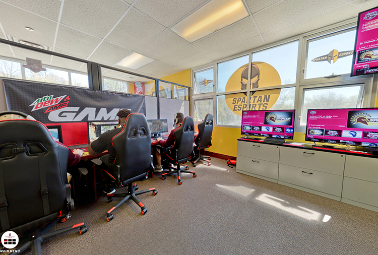E-Sports room with students practicing their skill sets