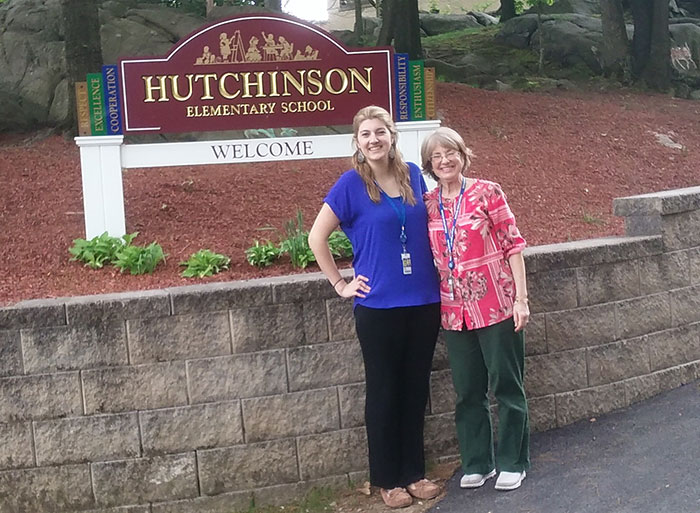 Halley Hudson next to her second grade teacher at Hutchinson Elementary School