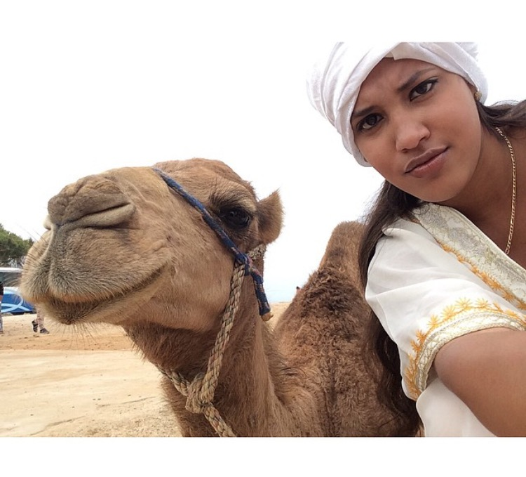Student pictured with camel in Morocco