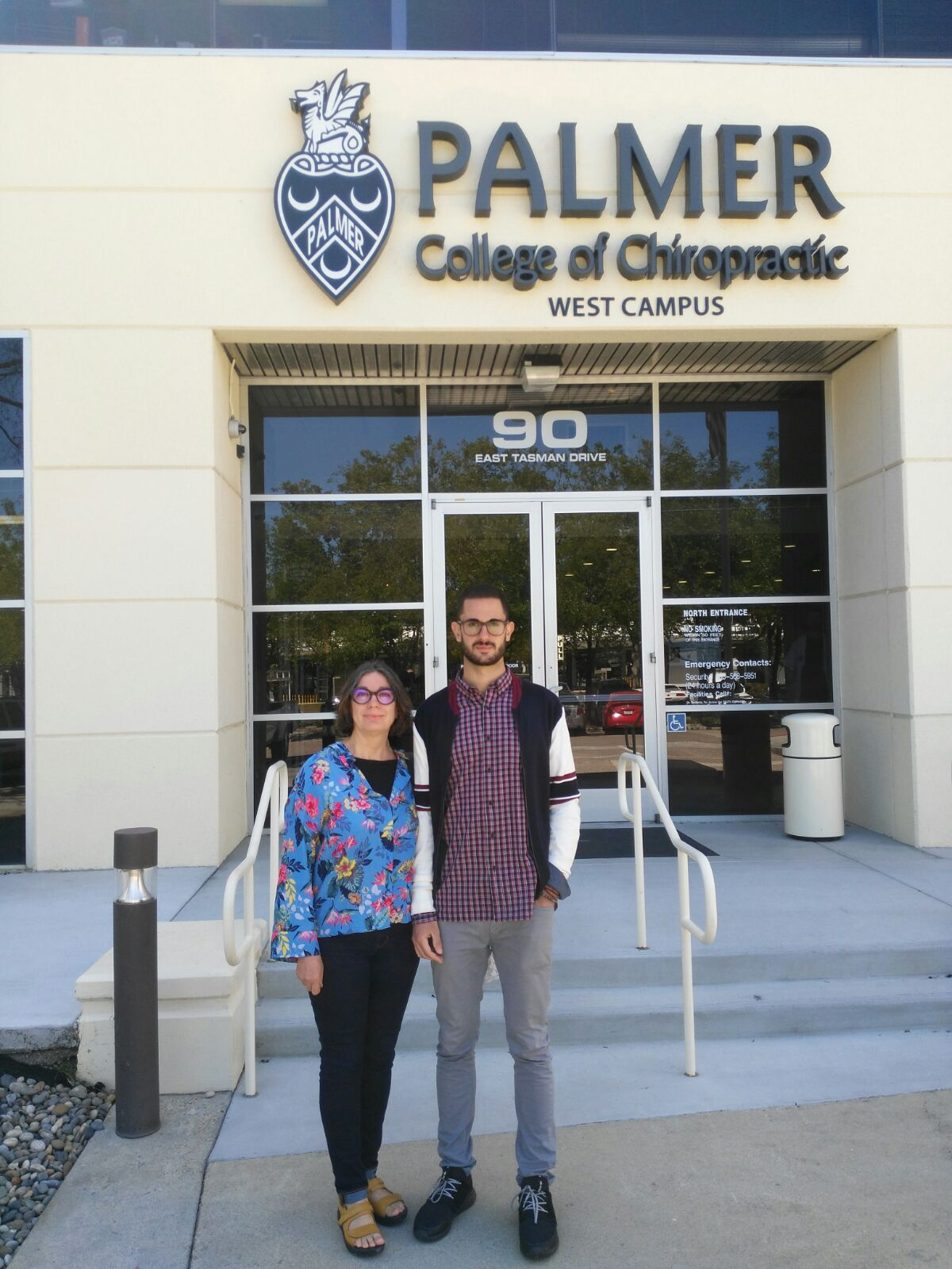 Javier Munoz with his mom at Palmer College of Chiropractic