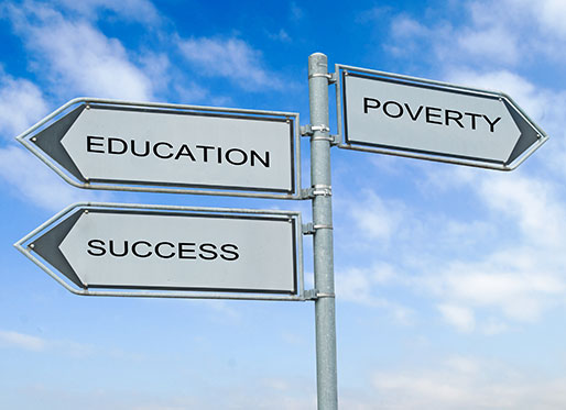 image with arrows representing education and success versus poverty