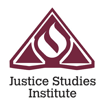 Justice Studies Institute logo: maroon torch and balance scales of justice, outlined in white.