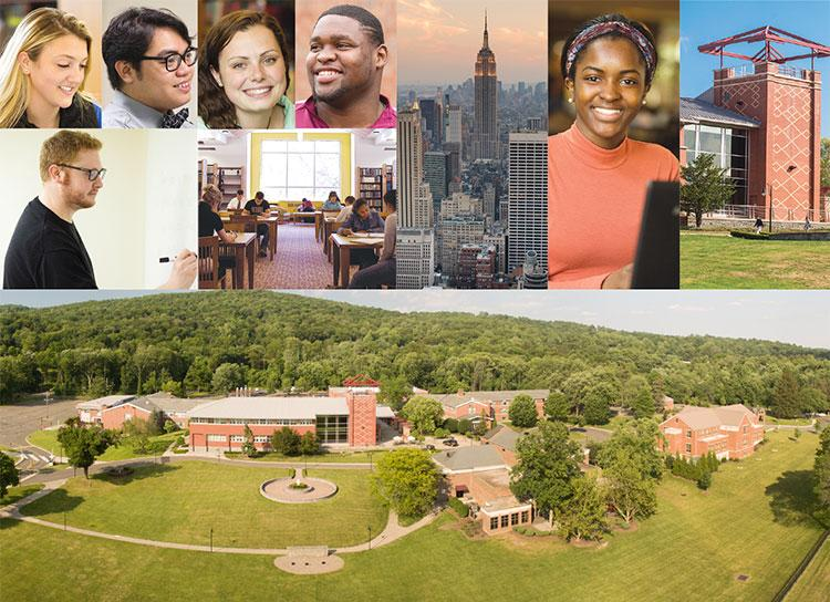 Collage of students, NYC Scape, Costello Hall and Aerial View of the Campus