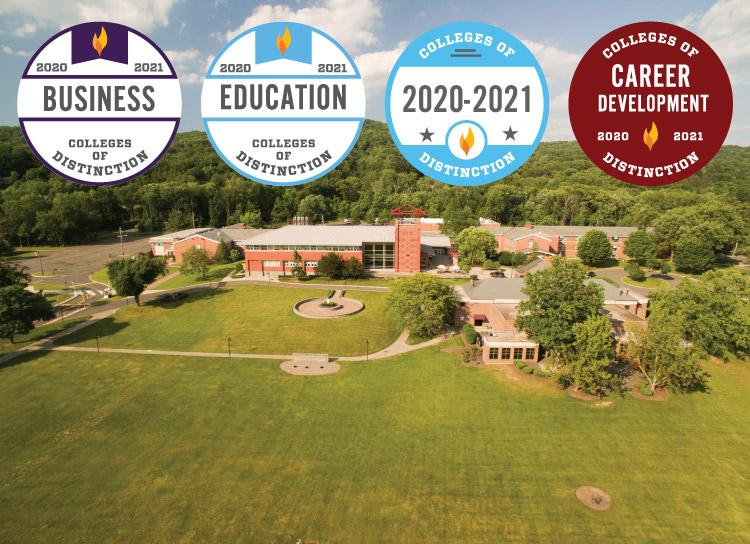 STAC Campus shot background with Colleges of Distinction for 2020-2021 in Education, Business, and Career Development