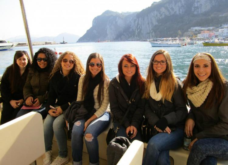 Stac students on a boat visiting the Amalfi Coast