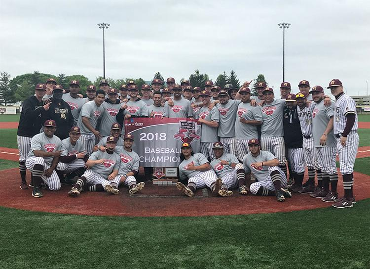 baseball team with the ECC Champs Banner
