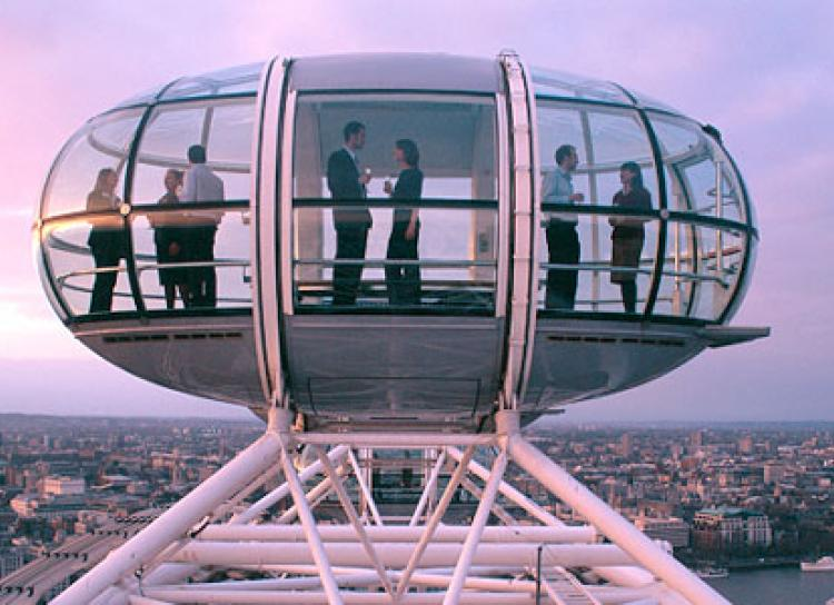 picture of a cabin at the top of the London eye
