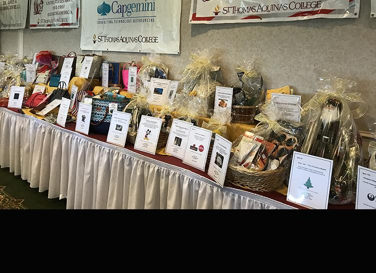 table of prizes at the silent auction