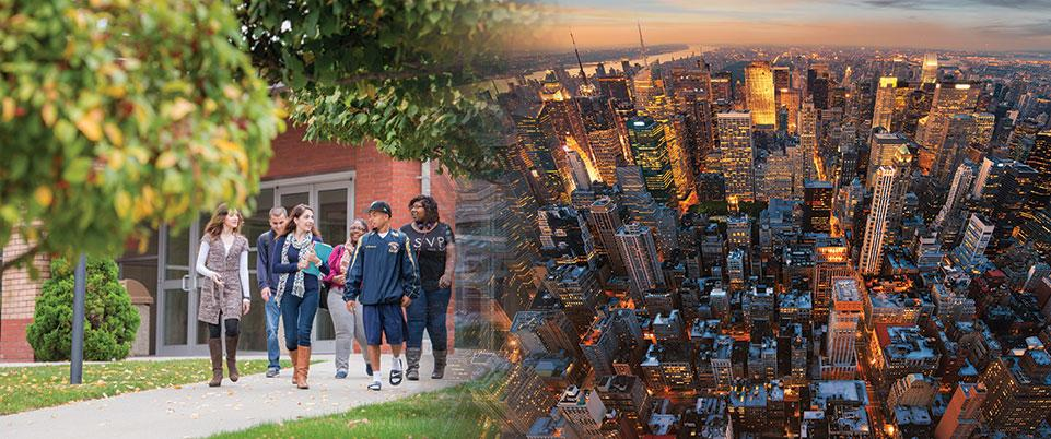 Merged Image, students walking on campus and aerial view of Manhattan