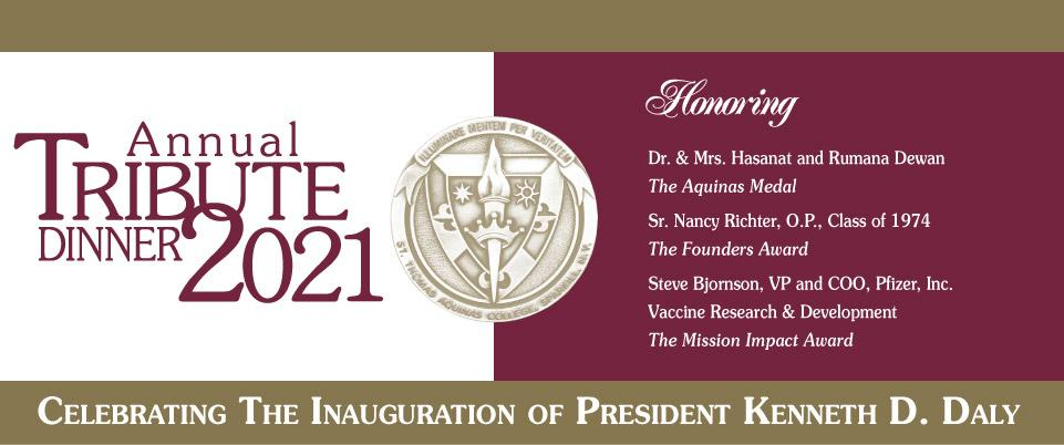 Annual Tribute Dinner seal with honorees Dewan's, Sr. Richter, and Bjornson from Pfizer