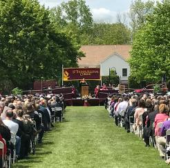 commencement ceremony on the front lawn