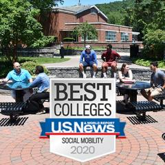 STAC students sitting at tables outside; sunny weather; overlay of Best Colleges Badge as described in press release