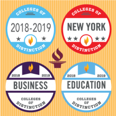 colleges of distinction 2018-2019 year badge and for education, business, and new york