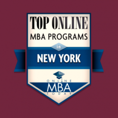 badge for top online MBA programs in new york