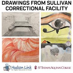 Image of drawings created by students in the Sullivan Correctional Facility