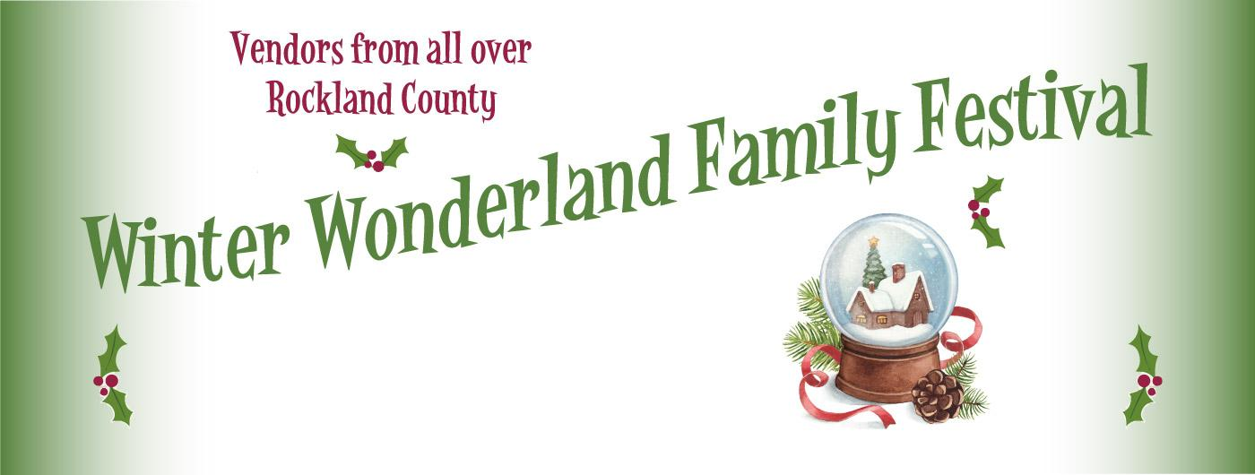 winter wonderland festival text with white background and snow globe with holly design