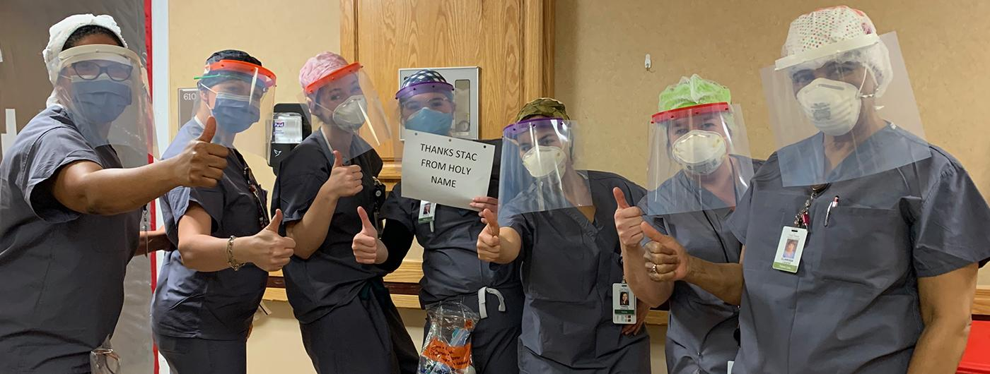 Staff at Holy Name Medical Center give thumbs up for STAC's generous donation of Face Shields
