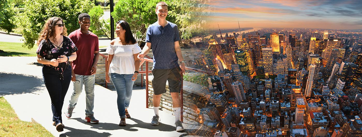 Merged image of students walking on campus and a NYC Skyline.