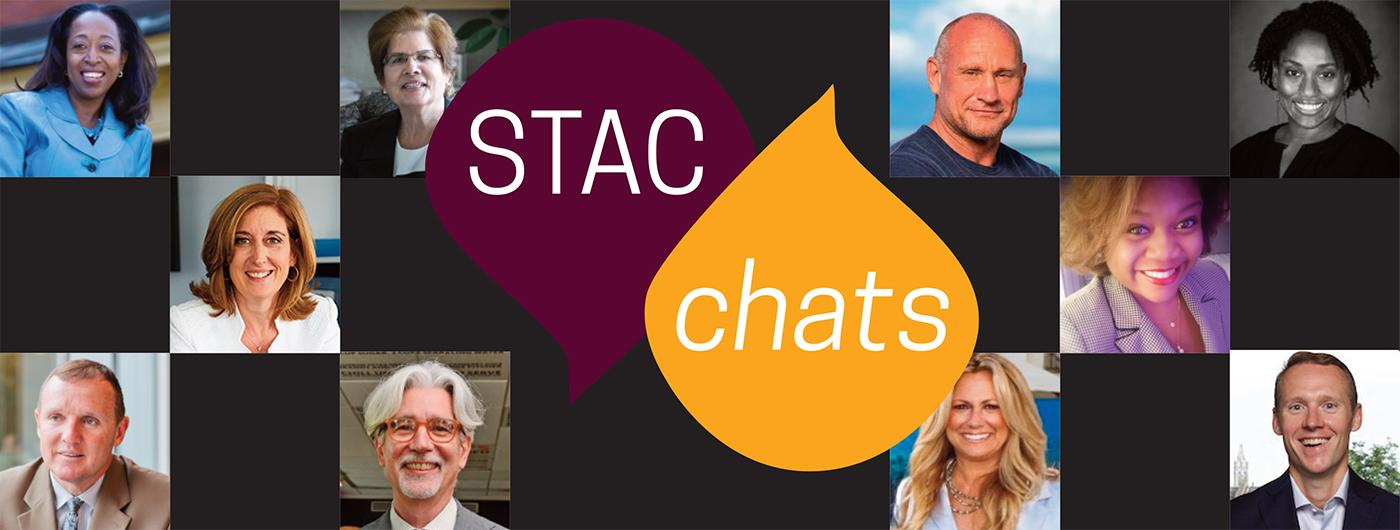 STAC chats logo with images of program's guests