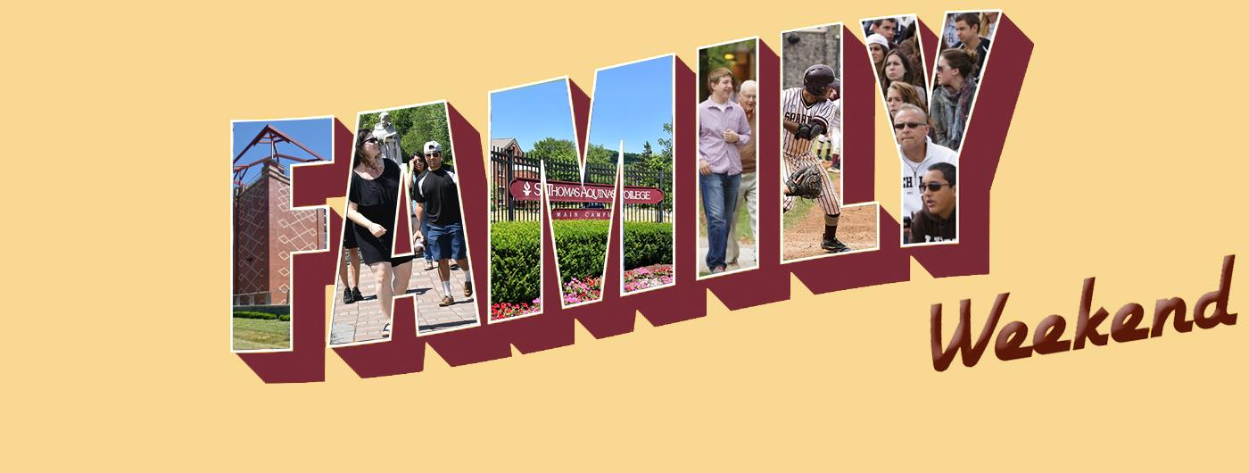 Family Weekend graphic with activities taking place around campus