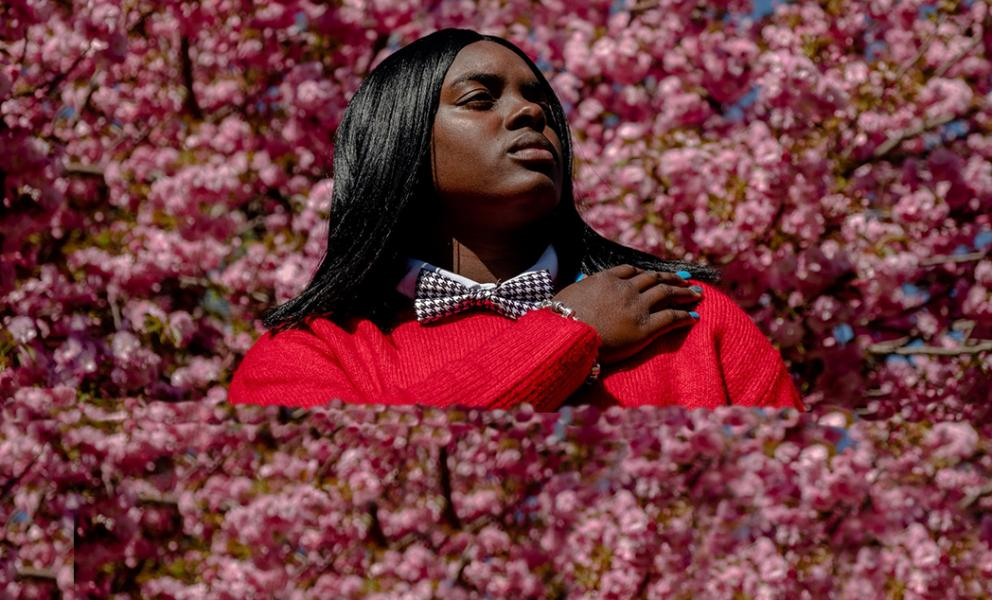 Brianna Jones with background, cherry blossom in full bloom