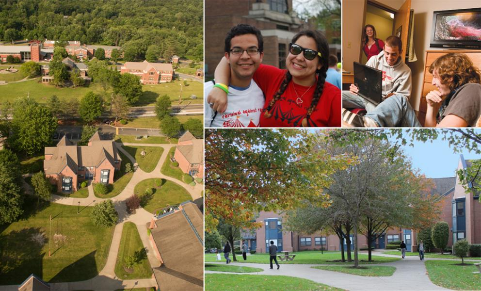 Collage of campus aerial, students bonding, dorm room and McNelis Commons Residence Hall