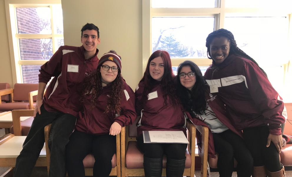group of five spartan ambassadors at our winter preview event