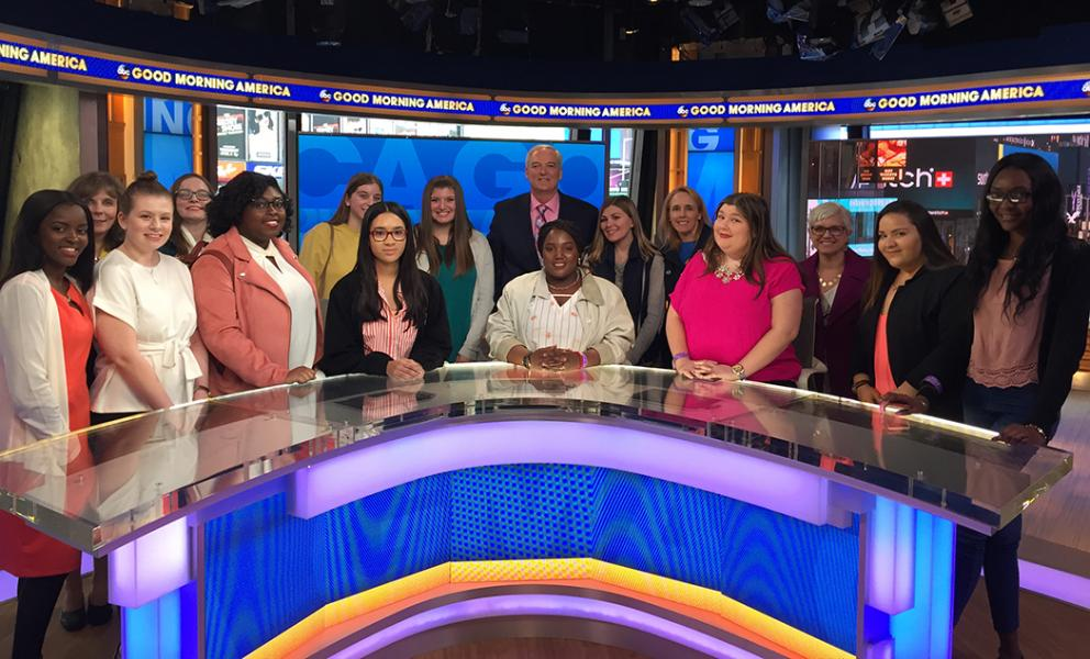 students on the set of good morning america
