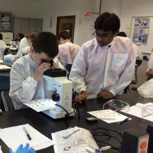 Students examine finger prints at the 2016 Forensic Science Camp.